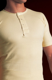 Mens Natural Cotton Button Front Underwear Vest Tee (453)