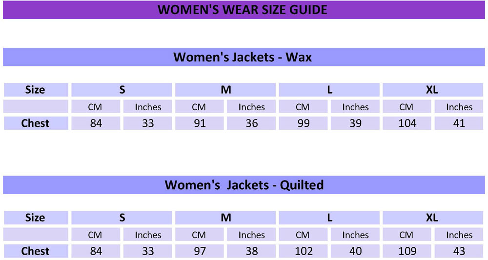 Womens Outerwear Size Guide