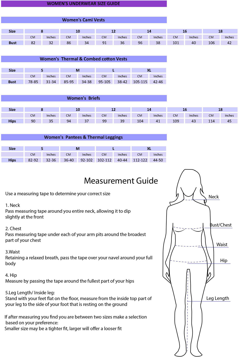 Womenswear Size Guide