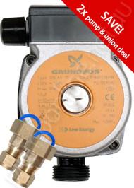 Grundfos SOLAR 15-20 CIL2 & Unions Open Loop Solar Pump  240V (Two Pump Pack)