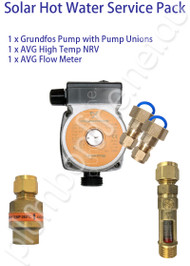 Solar Hot Water Service Pack(std) - Grundfos solar pump | pump unions | Non Return Valve | Flow Meter