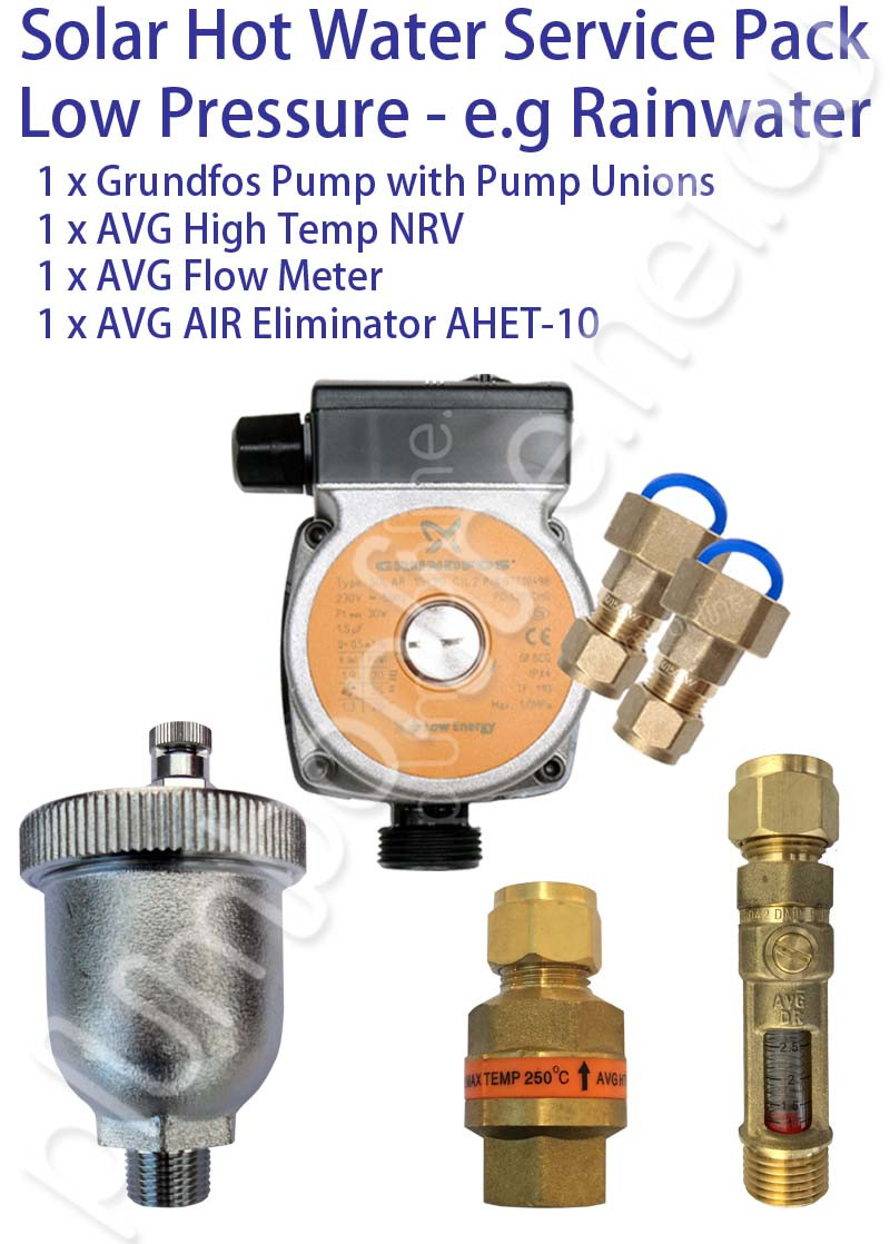 Service Hot Water : Solar hot water service pack low pressure systems