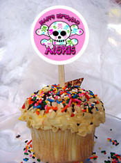 Girly Skull cupcake topper
