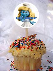 Smurfette cupcake topper