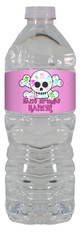 Girly Skull personalized water bottle labels