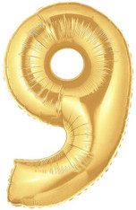 Gold Mylar Balloons number 9