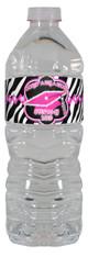 Pink Zebra Graduation water bottle labels