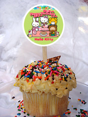 Hello Kitty tea party cupcake toppers
