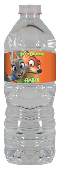 Zootopia water bottle labels