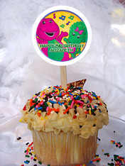 Barney cupcake toppers