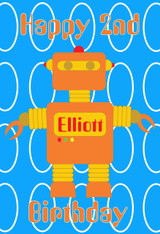 Robot Blue Background Personalized Poster