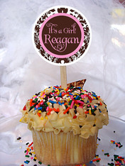 Brown and Pink Damask Personalized Cupcake Toppers