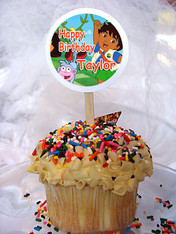 Go Diego Go Personalized Cupcake Toppers