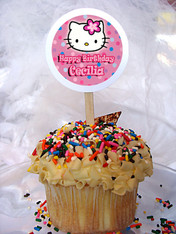 Hello Kitty Personalized Cupcake Toppers