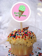 Ice Cream Personalized Cupcake Toppers