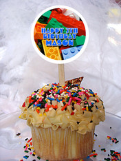 Lego Ville Personalized Cupcake Toppers