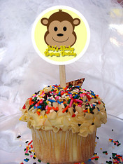Monkey Personalized Cupcake Toppers