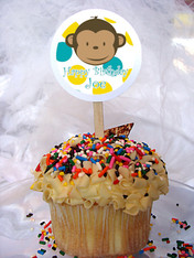 Mod Monkey Personalized Cupcake Toppers