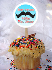 Mustache Personalized Cupcake Toppers