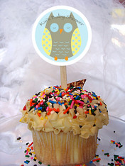 Owl Baby Shower Personalized Cupcake Toppers