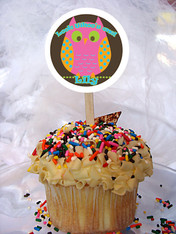 Owl Pink Personalized Cupcake Toppers