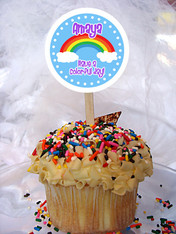 Rainbow Personalized Cupcake Toppers