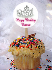 Tiara Personalized Cupcake Toppers