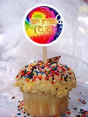 Tie Dye Personalized Cupcake Toppers