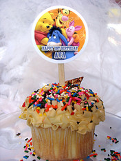 Winnie The Pooh Personalized Cupcake Toppers Set of 6