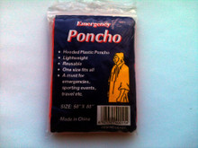 Red disposable rain poncho