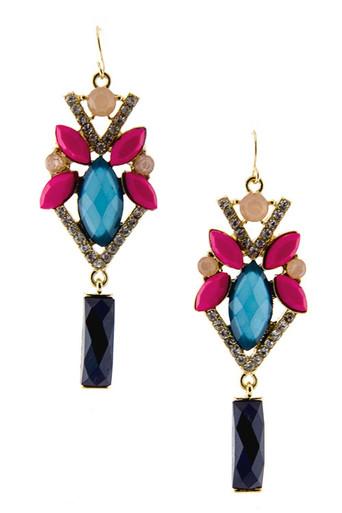 Blue Multi Jewels & Crystal Earrings