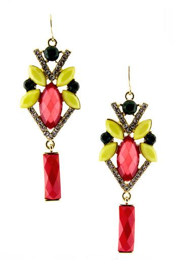 Coral Multi Jewel Crystal Earrings