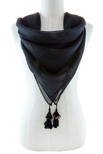 Square Scarf with Ball Trim in Black