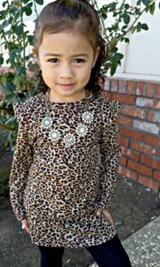 Childrens Long Sleeve Leopard Dress