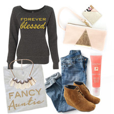 Outfit Inspiration for Fancy Auntie Tee.  Auntie Sparkly TShirt, Fancy Apparel for Any Occasion, Birthdays , Baby Shower, Special Aunt Gifts