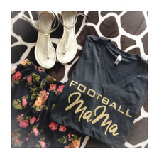 Cute Game Day Outfit.  Casual outfit inspiration floral shorts, flats and Football Mama V Neck.
