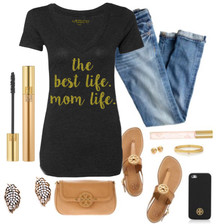 Casual Outfit for any Mom.  Sexy Jeans, Flats, Jewels and a Little Mascara + Lip Gloss paired with our tee.