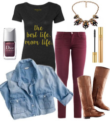 Mom Life Tee with Skinny Jeans, Chambray Top, Riding Boots, Accessories and Burgundy Nails.