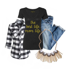 Outfit Inspiration:  Black and white plaid flannel, statement necklace, boyfriend jeans paired with statement necklace.