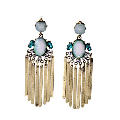 Fringe Drops in shades of blue, mint, and opal