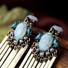 Aqua Statement Earrings - Long statement earrings