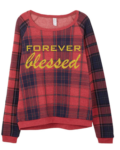 Red and Blue Plaid Sweatshirt