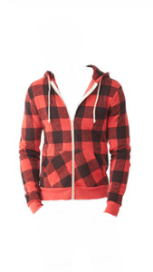 Red and Black Plaid Zippered Hoodie.  Women's Christian FOREVER Blessed Religious Sweatshirt, Blessed Clothing,  Blessed Tees, Christian TShirts, Blessed Shirt