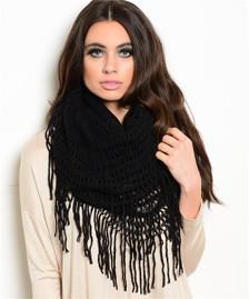 Black Knit Fringe Scarf - Long