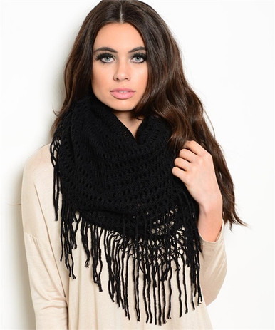 Black Knit Fringe Scarf - Long