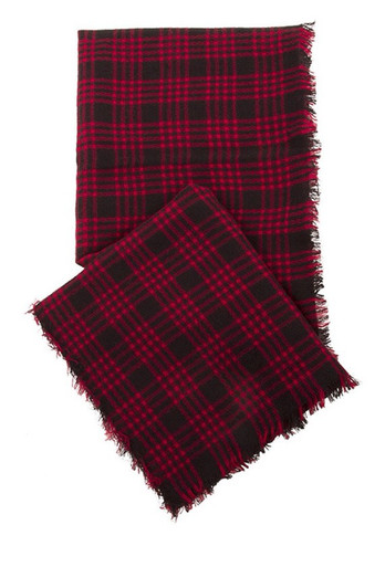 Red and Black Oversized Blanket Scarf