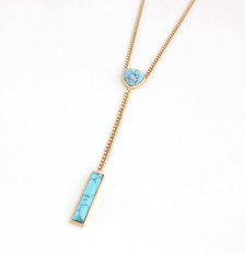 Jizelle Turquoise Y Layered Chain Necklace with stone details