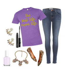 """the best life. mom life"" Eco Crew T-Shirt Outfit Inspiration.  Skinny Jeans, Statement Necklace, Earrings, Nude Manicure + Animal Print Flats."