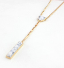 Jizelle White Y Layered Chain Necklace