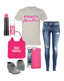 Fancy Auntie Tee Outfit for everyday.  Running errands, going to kids sports games, birthday celebrations, weekend wear you name it.  You can wear this tee just about anywhere and look casual or as fancy as you want.